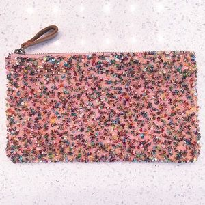 NWT Anthropologie Multicolor Beaded Clutch